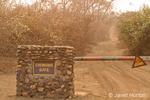 Chongwe entrance barrier gate in Lower Zambezi National Park