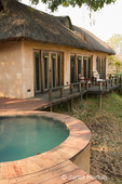Plunge pool on patio of a luxury suite of the Royal Zambezi Lodge