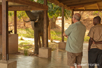 Tourists watching an African Elephant eating seed pods near the outside kitchen and dining area of the Royal Zambezi Lodge