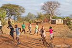 African children playing at the Chiawa Cultural Village
