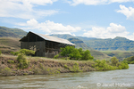 Barn beside the Snake River in Hells Canyon National Recreation Area