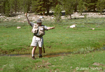 Man catching Golden trout  on fly rod in Horseshoe Creek in Horseshoe Meadows