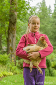 Eleven year old girl holding a Buff Brahma hen