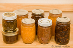 Home-canned goods on a pantry shelf, from left to right: pepper jelly on top of pear butter, peach jam, salsa and rhubarb conserve in front row.  Back row has peach jam and rhubarb conserve.