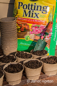 Prepare for transplanting or planting seeds directly by using biodegradable peat pots.
