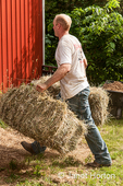 Man carrying bale of hay into the barn