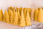 Handmade beeswax candles produced by Bees in the 'Burbs beekeepers, ready for sale