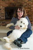 Woman cuddling a four month old Goldendoodle puppy