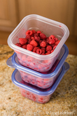 Fresh raspberries may be picked in small batches, put in plastic containers and frozen until there is sufficient quantity to make a batch of jam