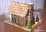Back side of a Christmas gingerbread house