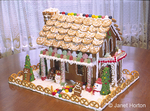 Front side of a Christmas gingerbread house