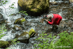 Photographer standing in Horsetail Creek near Horsetail Falls which is located 2.75 miles east of Multnomah Falls on the Historic Columbia River Highway