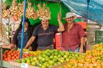 Vendors at the La Garita Farmer's Market fresh produce booth
