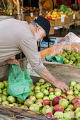Man buying Gravenstein apples from a bin at Draper Girls Country Farm