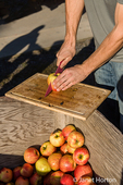 Young man slicing an apple to be used in making cider at a cider making party at Lucia's Orchard