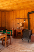 Interior of the Laborers' Dwelling house log cabin Fort Nisqually Living History Museum