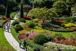 Tourists enjoying the formal flower gardens at Butchart Gardens