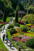 Tourists enjoying the formal flower gardens at Butchart Gardens