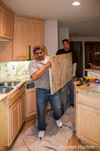 Granite countertop is very heavy and requires strong people to carry it