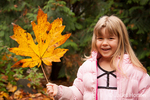 Four year old girl playing with a Big Leaf Maple leaf, showing how big it is in comparison to her head