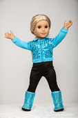 American Girl doll in her workout clothes doing jumping jacks