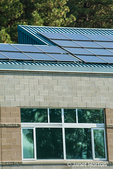 Solar panels on the roof of Icicle River Middle School, Leavenworth, Washington, USA