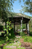 Octagonal gazebo at the Sleeping Lady Mountain Resort garden in Leavenworth, Washington, USA