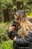 Woman holding Fitzgerald, a 10 week old black Pug puppy in Issaquah, Washington, USA
