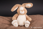 Stuffed toy rabbit sitting on a pillow