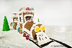 Homemade Santa's gingerbread train scene