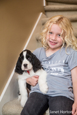 Seven year old girl sitting on carpeted stairs with her two month old Springer Spaniel puppy, Tre