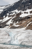 Streams of icy blue glacial water flowing through the ice on Athabasca Glacier along Icefields Parkway