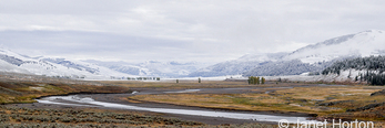 Panorama of Lamar River Valley after an early Autumn snowstorm
