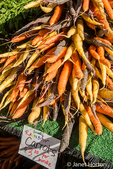 Pile of organic rainbow carrots at a Farmers' Market