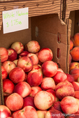 Box of White nectarines for sale at a Farmers Market