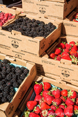 Strawberries, blackberries and raspberries for sale at a Farmers Market