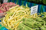 Yellow and green Italian beans for sale at a Farmers Market in Issaquah, Washington, USA