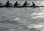 Rowing, Blurred motion image of men's eight oared shell with cockswain.