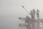 Rowing, Fog, Rowers, United States National Rowing Team, Men's Quad, Launching racing shells; 2010 FISA World Rowing Championships; Lake Karapiro; Hamilton; New Zealand; November 4, 2010; 
