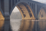 Rowing, Washington DC, Potomac River, Key Bridge, District of Columbia, Virginia, North America, USA, mens four,
