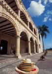 Dominican Republic, Santo Domingo, Museo de las Casas Reales,  The Palace of the Governors and Captains-Generals, with hats for sale, Zona Colonial World Heritage Site, the Caribbean,