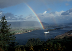 Columbia River, rainbow, Puget Island. View upstream from the Oregon side to a farmland island near Cathlamet on the Washington side of the river.