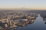 Seattle, Duwamish River, Mount Rainier, Aerial, Port of Seattle, Elliott Bay, Puget Sound, industrial, area, EPA, Super Fund Site, Washington State, Pacific Northwest, North America, USA,
