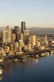 Seattle, Aerial, Central Business District, Port of Seattle, Elliott Bay, Puget Sound, Washington State, Pacific Northwest,