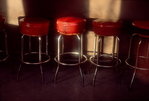 Seattle, Skid Road, Pioneer Square, Bar stools in sunlight, Washington State, Pacific Northwest, 