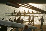 Rowing, Rowers launching racing shells at the FISA World Rowing Championships, Milan, Italy, 2003,