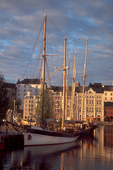 Finland, Scandinavia, Helsinki, harbor, Baltic Sea, schooners, sunset