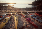 Maine, Sea Kayaking, Maine Island Trail, Penobscot Bay, kayaks beached at campsite, New England, USA, Atlantic Ocean,