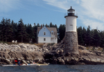 Maine Island Trail, Sea Kayakers, Robinson Point Light, Ille au haut, Acadia National Park, Maine  New England, Atlantic Ocean,