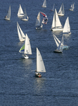 Seattle, Sailboats racing, Lake Union, Weekly Duck Dodge all-class race,  Washington State, Pacific Northwest,